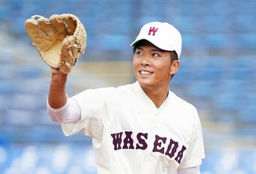 ドラフト目玉の早川隆久投手。(早稲田大学)